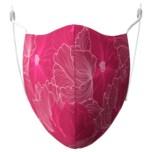 Mund-Nasen-Maske Bio Baumwolle 3er Set (Blumen Pink, Uni Rosa, Uni Natur)