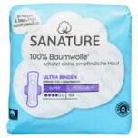 Sanature Ultra Binden 100% Baumwolle Super mit Flügeln 10 Stück