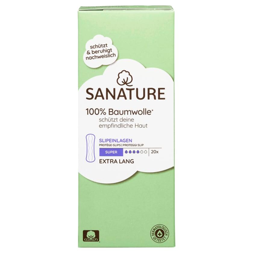 Sanature Slipeinlagen 100% Baumwolle Super Extra Lang 20 Stück