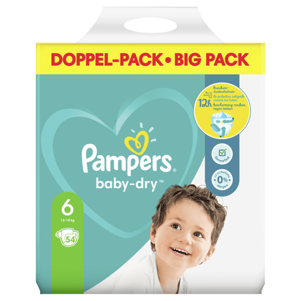 Pampers Windeln Baby Dry Gr.6 13-18kg Big Pack 54 Stück