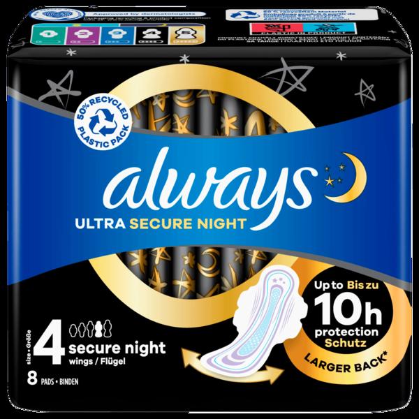 Always Ultra Secure Night mit Flügeln Größe 4, 8 Stück