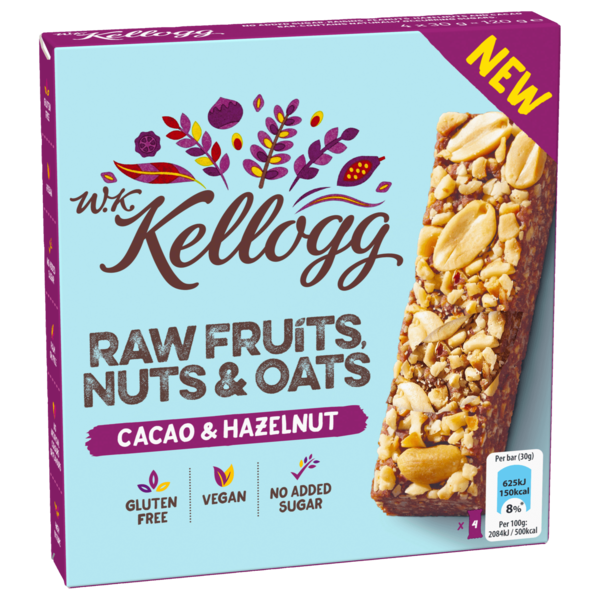 W. K. Kellogg Raw Fruits, Nuts & Oats Cacao & Hazelnut 4x30g