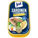 Ja! Sardinen in Sonnenblumenöl mit Zitrone 125g