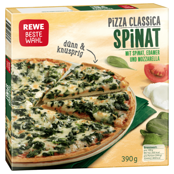 REWE Beste Wahl Pizza Classica Spinat 390 g
