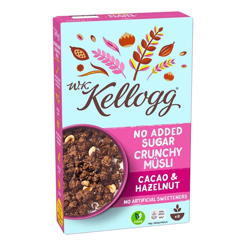 W. K. Kellogg No Added Sugar Crunchy Müsli Cacao & Hazelnutt 400g