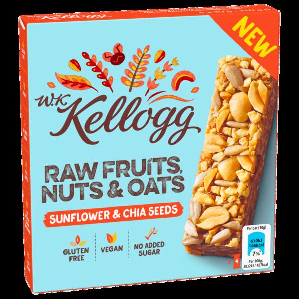 W. K. Kellogg Raw Fruits, Nuts & Oats Sunflower & Chia Seeds 4x30g