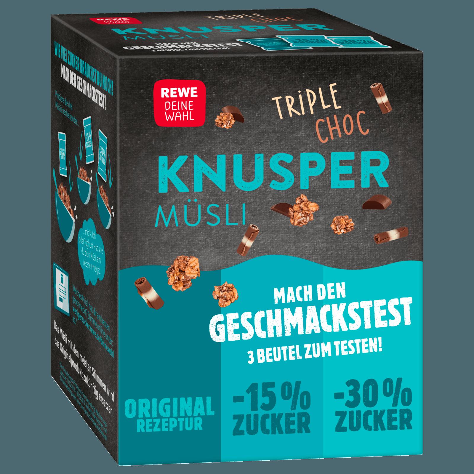 REWE Deine Wahl Knuspermüsli Triple Choc Probierpaket 255g