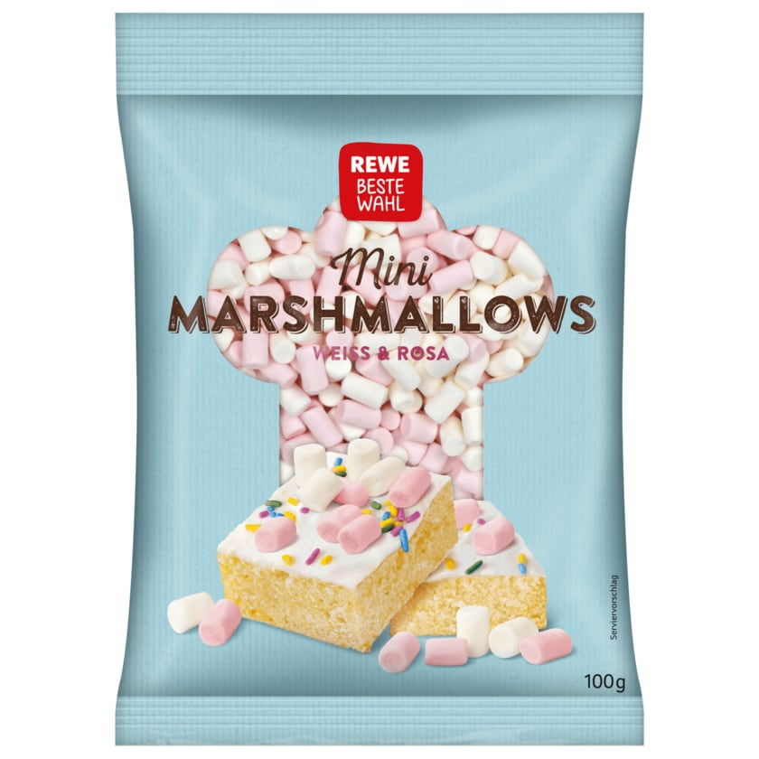 REWE Beste Wahl Mini Marshmallows Weiss & Rosa 100g