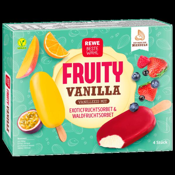 REWE Beste Wahl Fruity Vanilla Vanilleeis mit Fruchtsorbet vegan 4x90ml