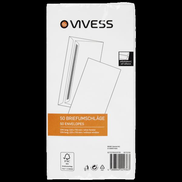 Vivess Briefumschläge DL ohne Fenster 50 Stück