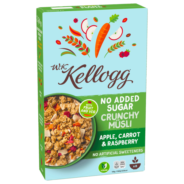W.K. Kellogg No Added Sugar Crunchy Müsli Apple, Carrot & Raspberry 380g