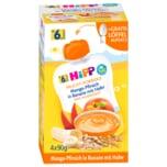Hipp Frucht-Porridge Mango-Pfirsich in Banane mit Hafer 4x90g