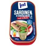 ja! Sardinen in Sonnenblumenöl mit Chili ohne Haut und ohne Gräten 125g