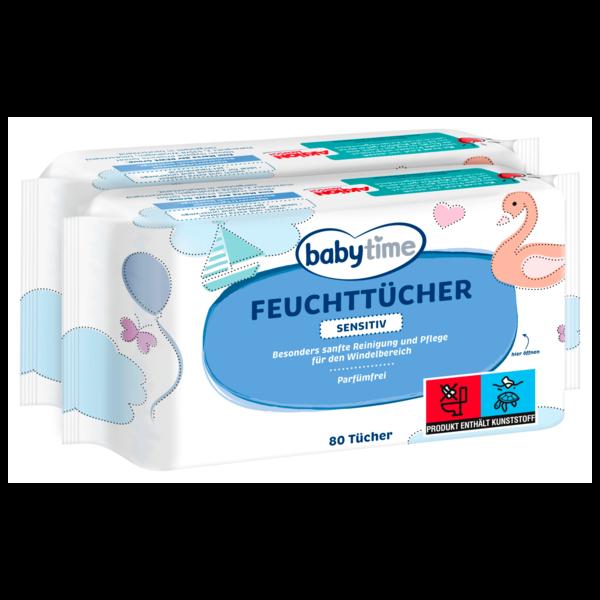 Babytime Feuchttücher Sensitiv Parfümfrei 2x80 Tücher