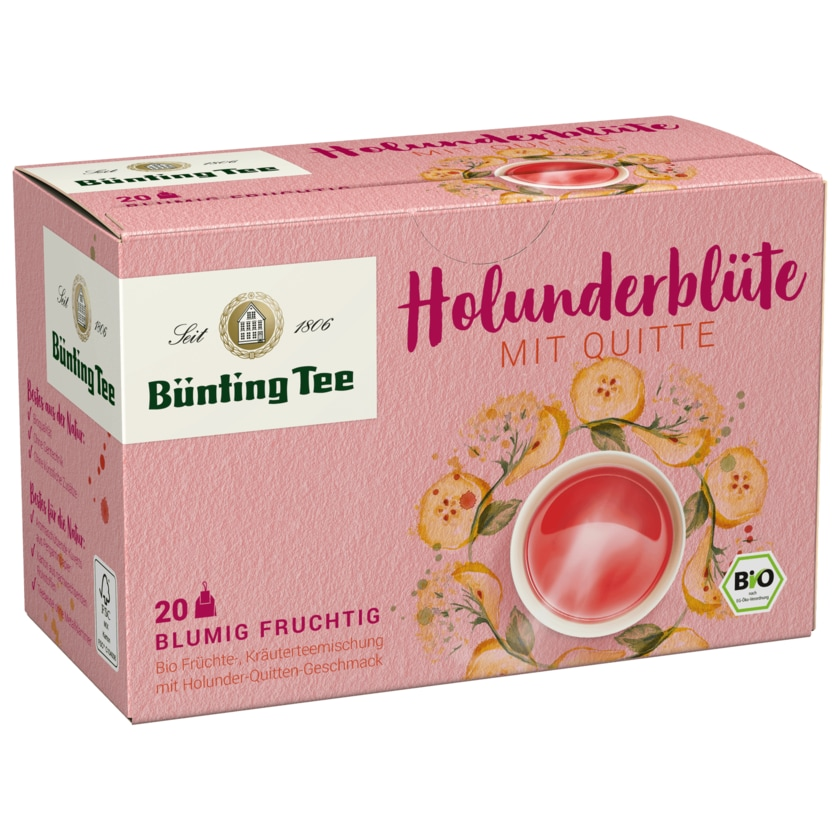 Bünting Tee Bio Holunderblüte mit Quitte 50g, 20 Beutel