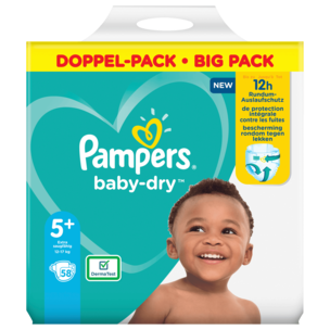 Pampers Baby Dry Gr.5+ 12-17kg Big Pack 58 Stück