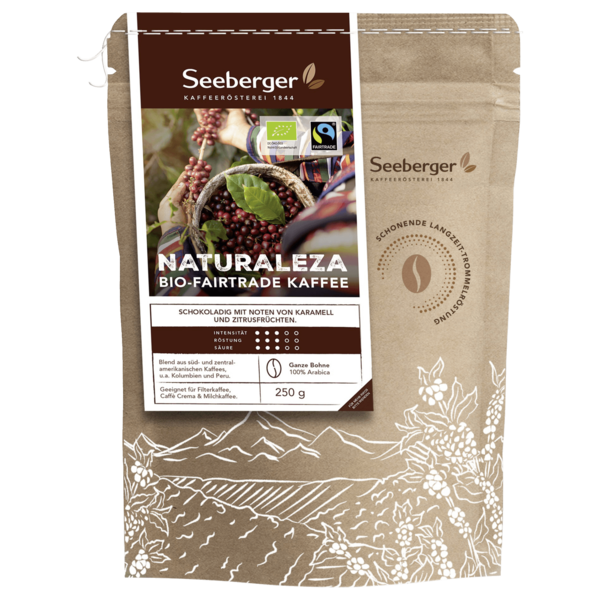 Seeberger Bio Fairtrade Naturaleza Kaffee Bohne 250g