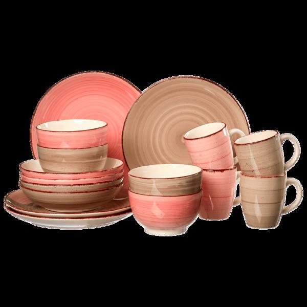 Ritzenhoff & Breker Happy Kombiservice grau/rosa 16-teilig