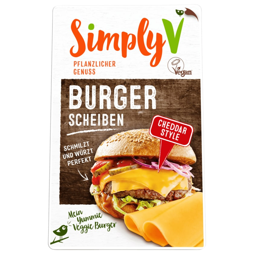 Simply V Burgerscheiben Cheddar Style vegan 150g