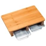 Kesper Schneidebrett mit 2 Auffangschalen aus FSC-zertifiziertem Bambus
