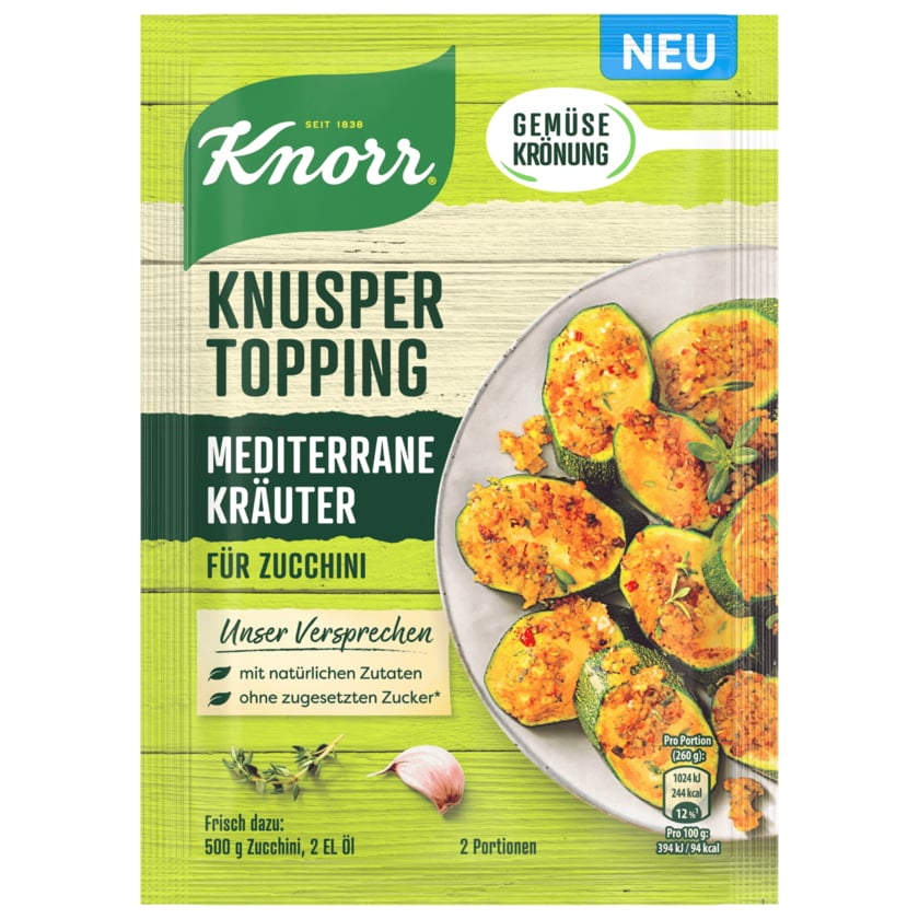 Knorr Gemüsekrönung Knusper Topping Mediterrane Kräuter 40g