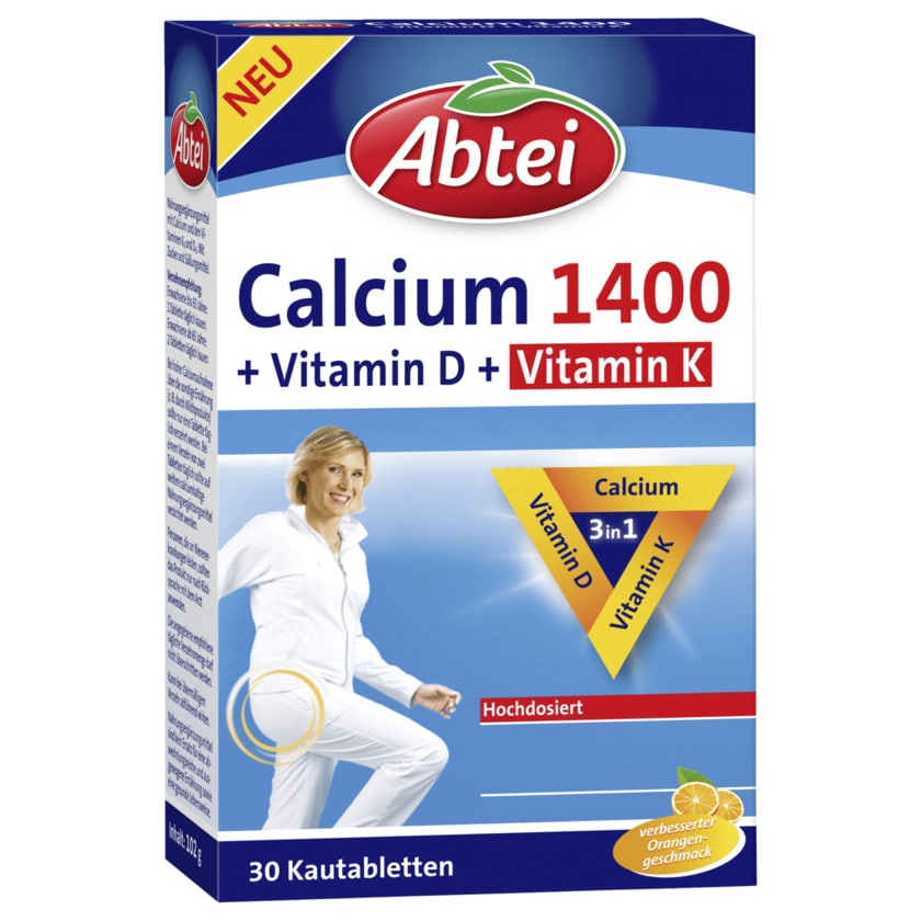 Abtei Calcium 1400 + Vitamin D & Vitamin K 30 Kautabletten