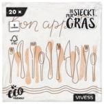 Vivess Servietten Gras 33cm 2-lagig, 20 Stück