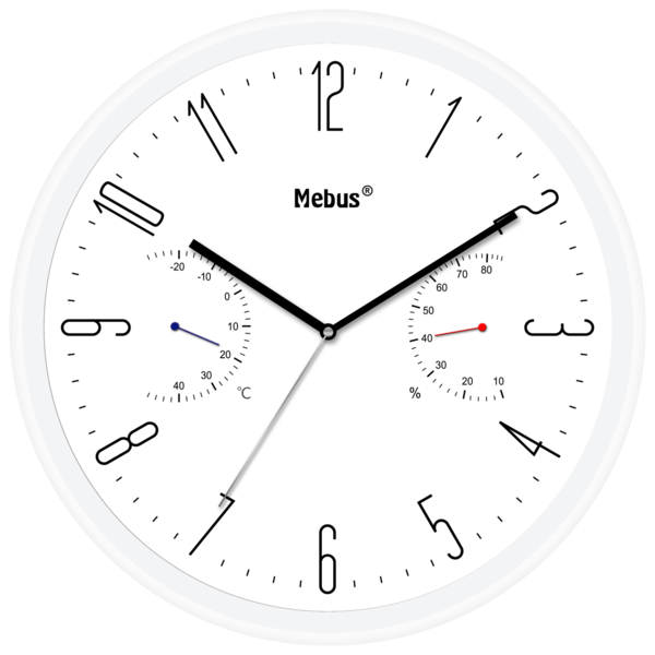 Mebus Quarz-Wanduhr mit Thermo- und Hygrometer