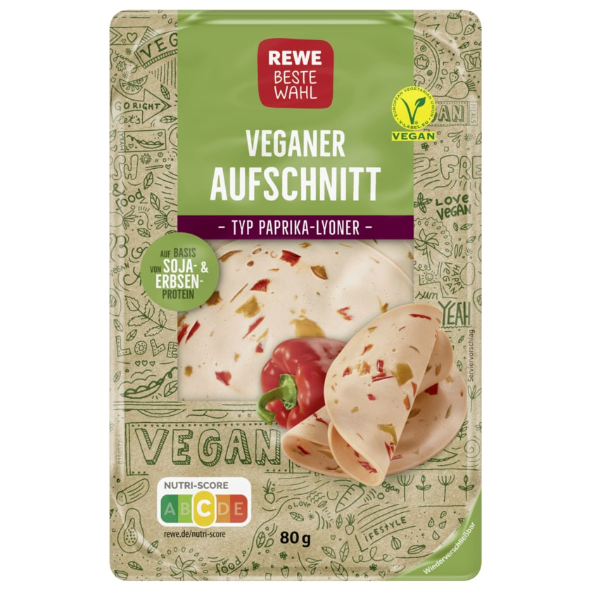Rewe Beste Wahl Veganer Paprika-Lyoner Aufschnitt 80g