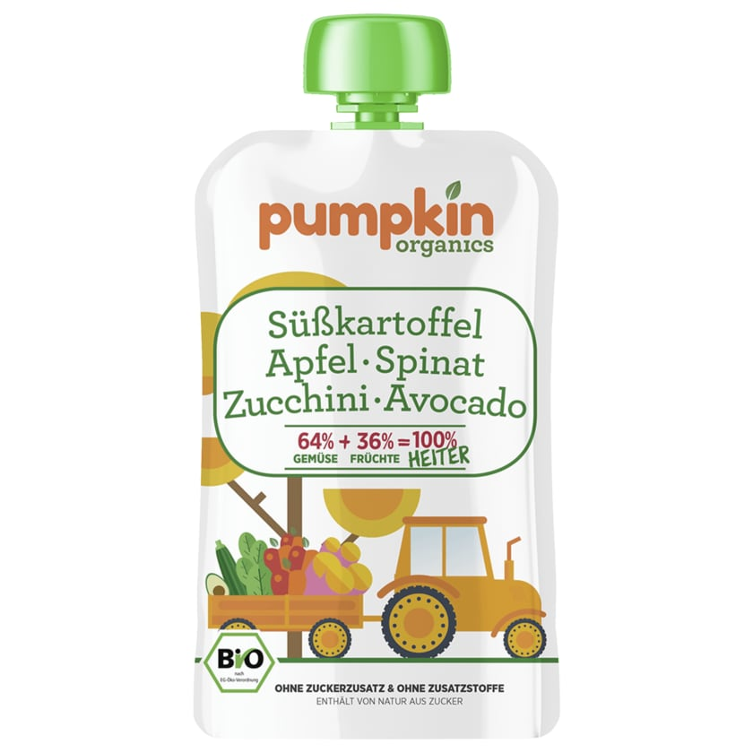 Pumpkin Organics Bio Süßkartoffel, Apfel, Spinat, Zucchini und Avocado 100g