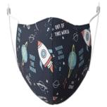 Kinder-Mund-Nasen-Maske Bio Baumwolle 3er Set (Astronaut Marine, Buchstaben Blau, Uni Mint)
