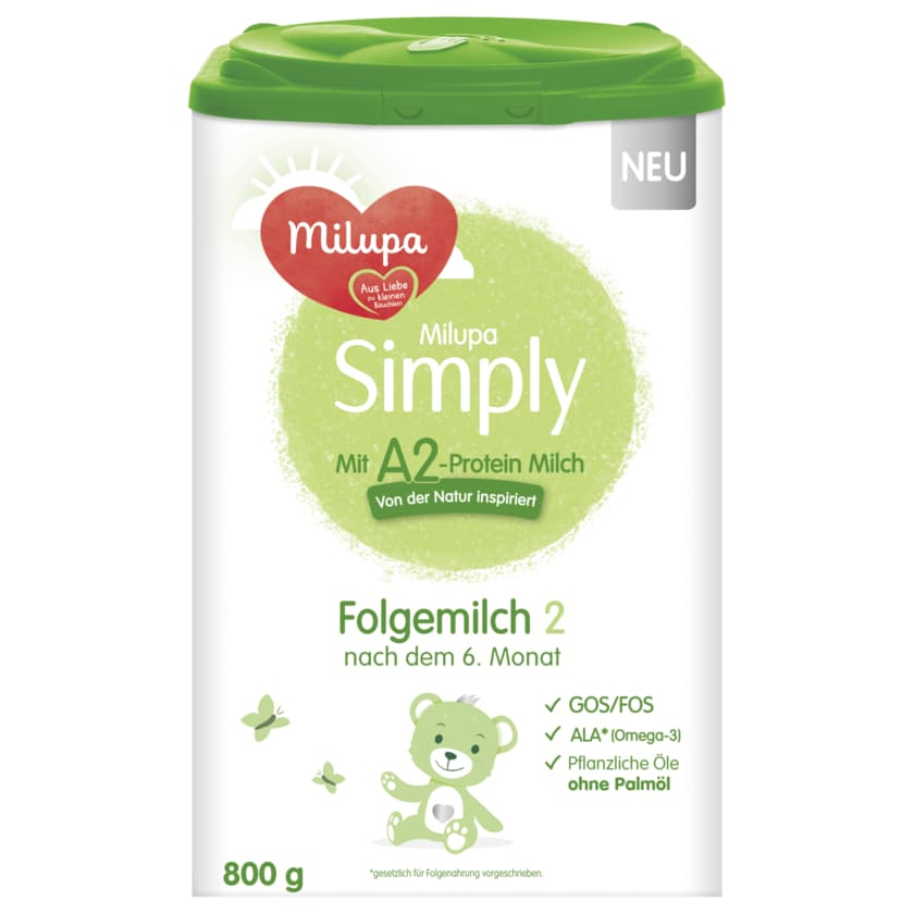 Milupa Simply Folgemilch 2 mit A2-Protein Milch 800g