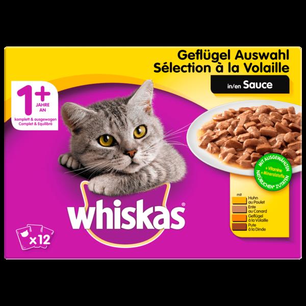 Whiskas Katzenfutter 1+ Geflügelauswahl in Sauce 12x100g