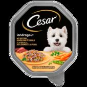 Cesar Hundefutter Landküche Mini Filets mit Geflügel & Gemüse in köstlicher Sauce 150g